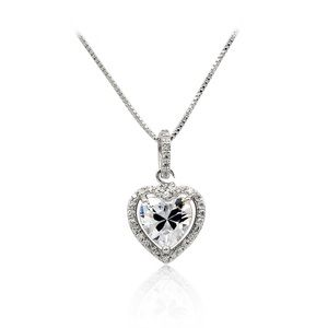 Lovely silver peach heart crystal necklace